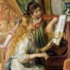 Mother helping daughter at the piano